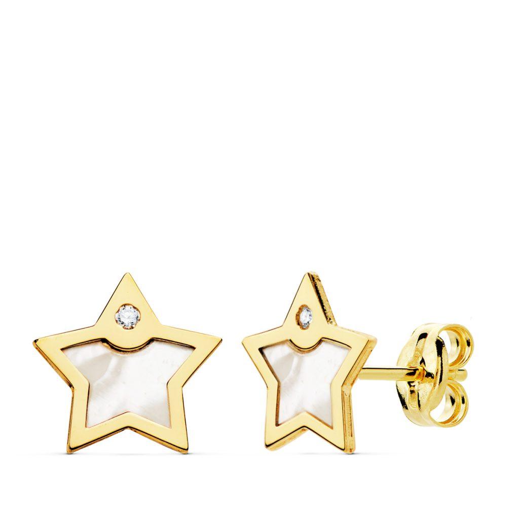 Pendientes oro niña estrella